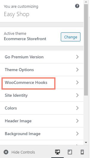 """The menu named """"WooCommerce Hooks"""""""