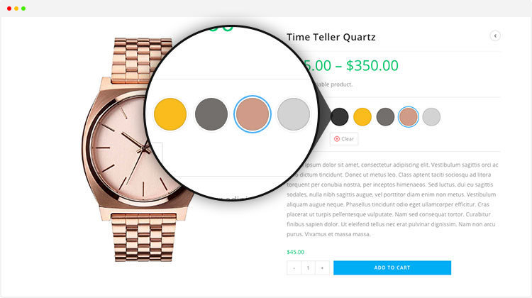 WooCommerce colors and swatches