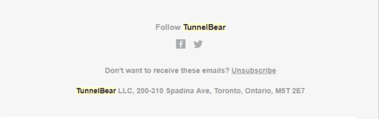 TunnelBear's email