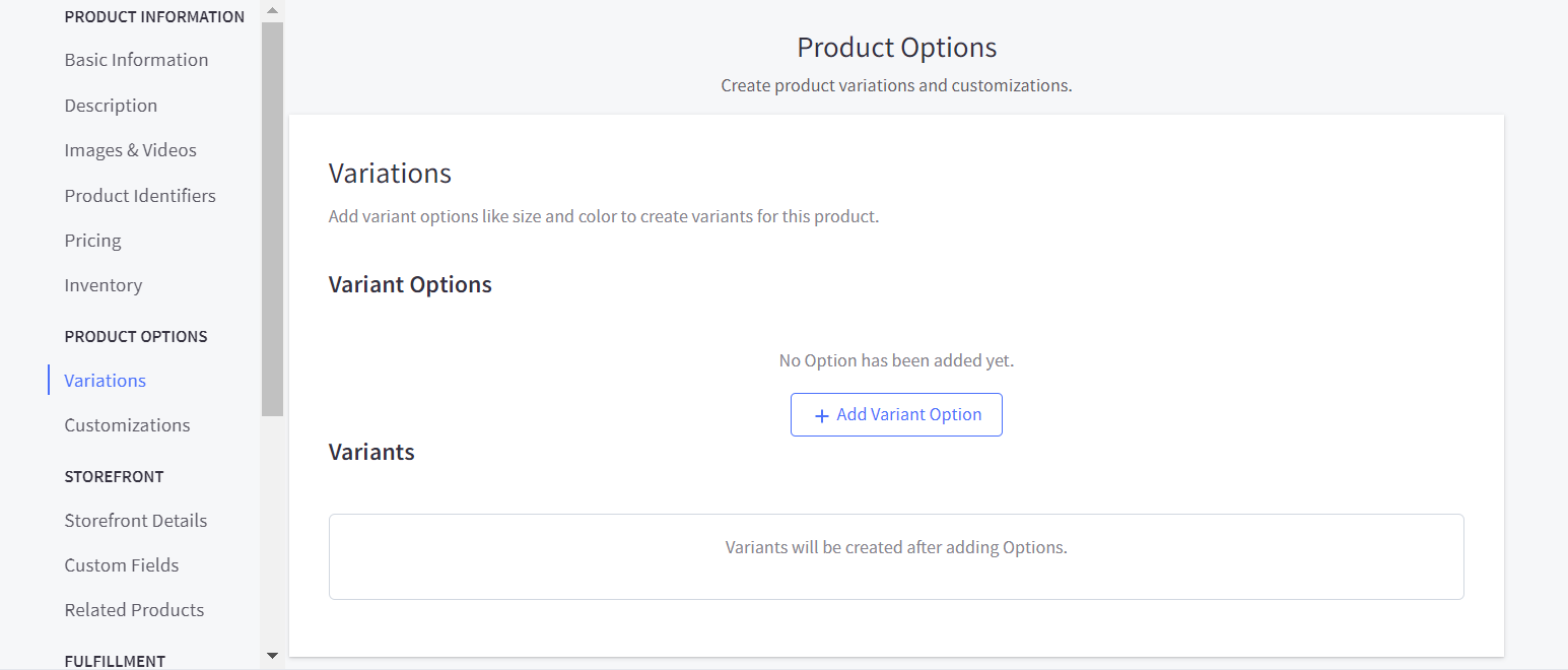 Add product variations and customizations