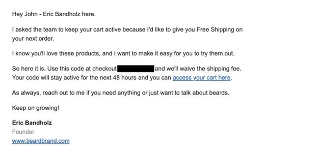 Beardbrand's cart recovery mail example