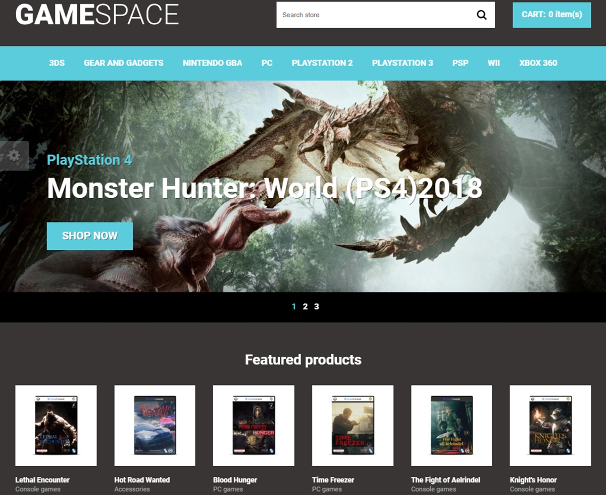 Game Space Shopify template