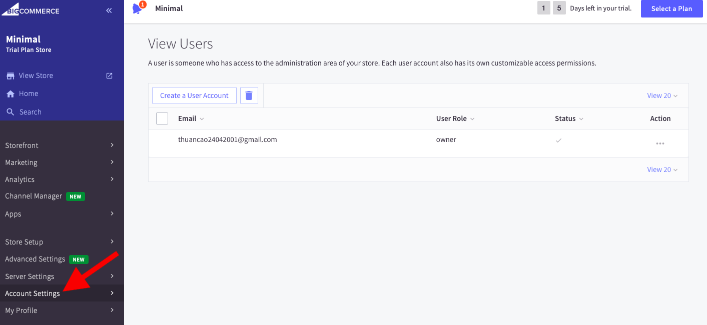 Go to Account Settings > Account Overview