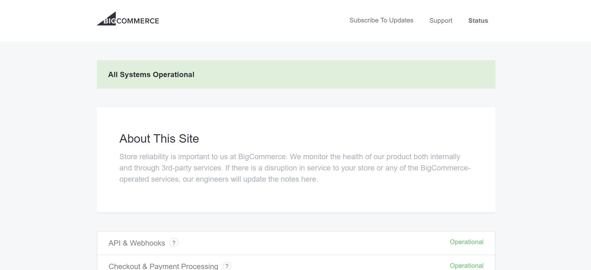 BigCommerce status check website