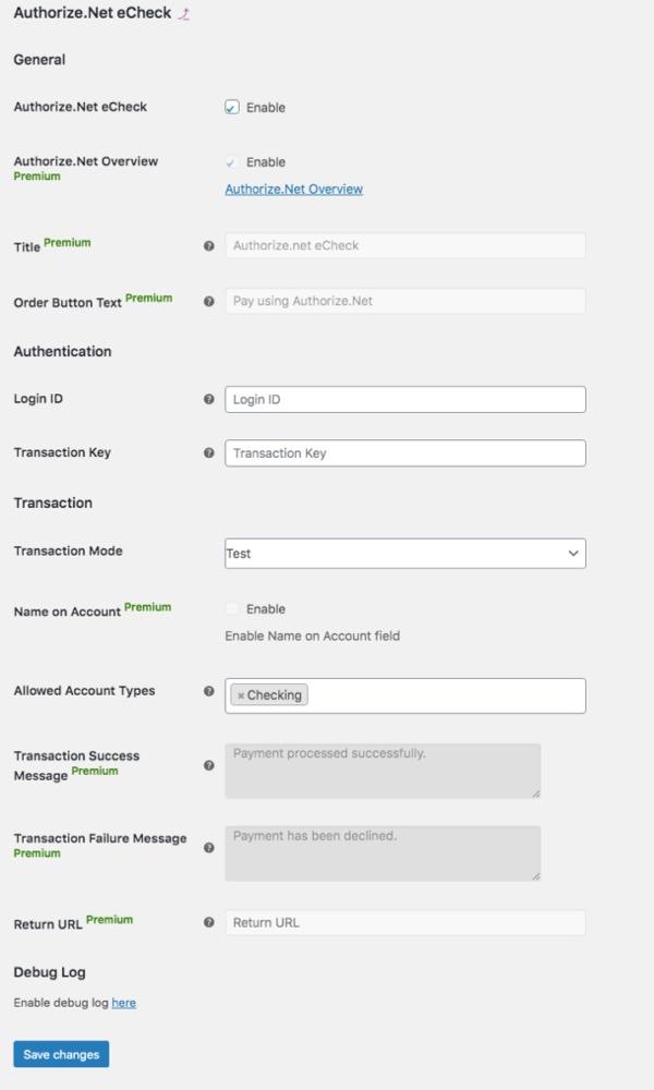 Configure Authorize.Net eCheck