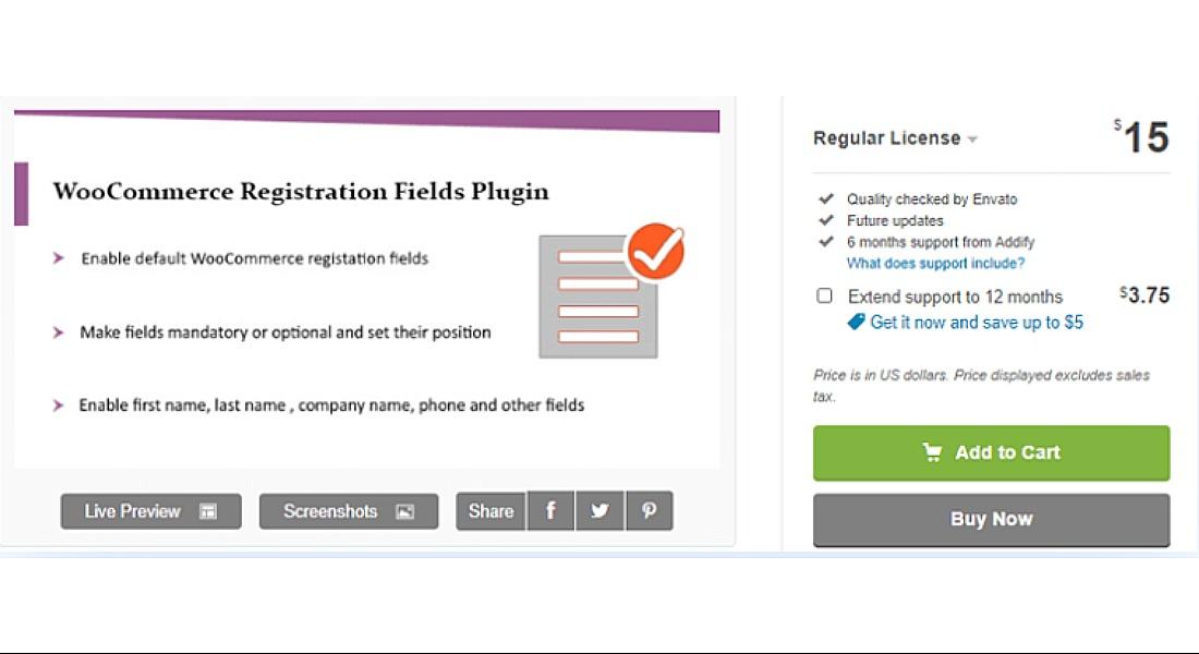 WooCommerce Registration Fields Plugin by Addify
