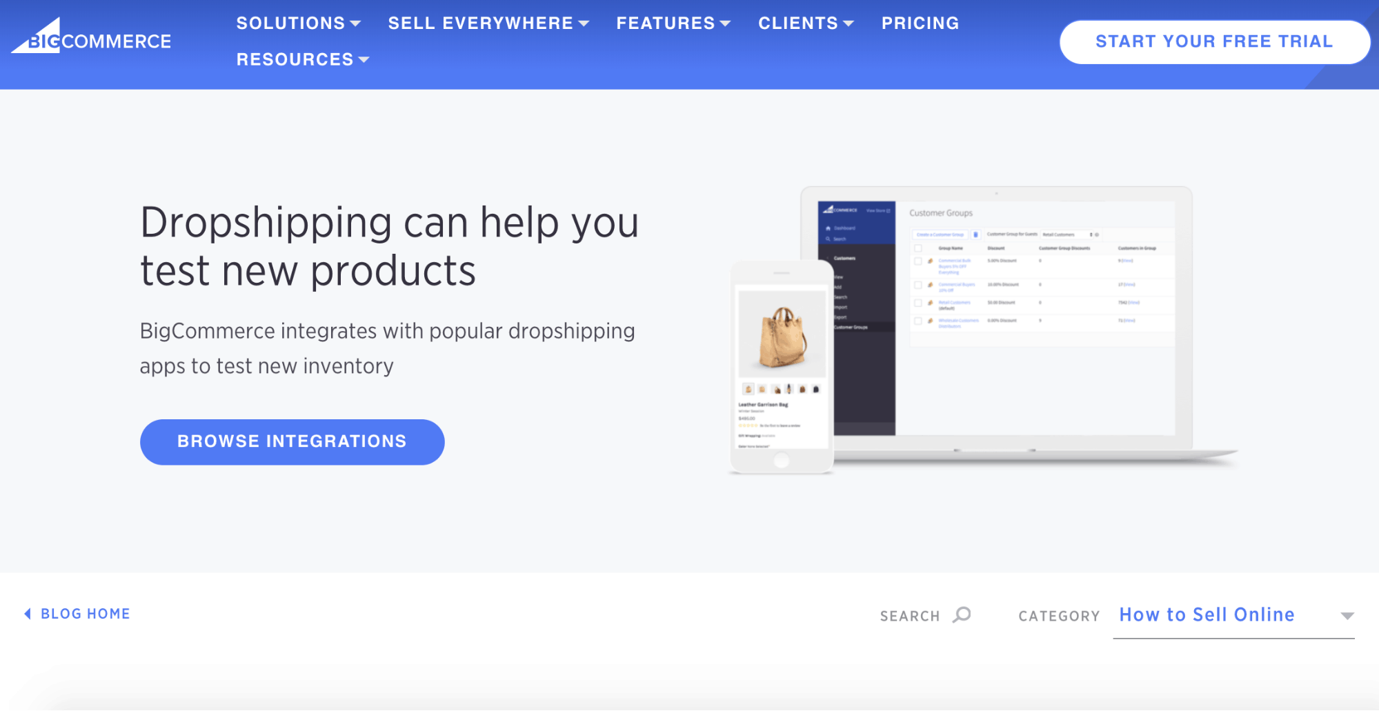 BigCommerce dropshipping page