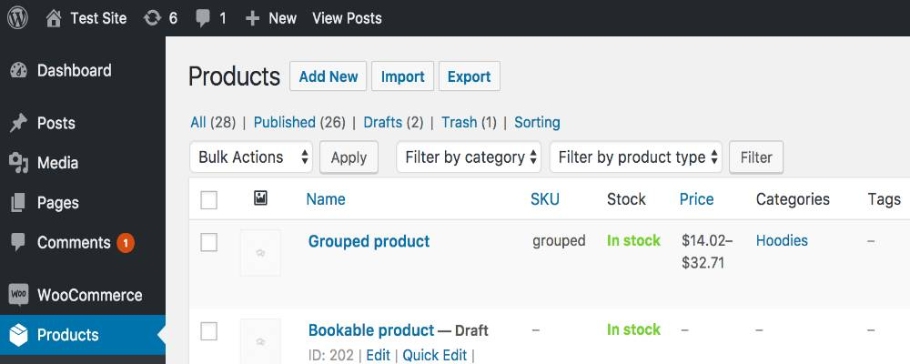 Click on Products tab to import information to WooCommerce
