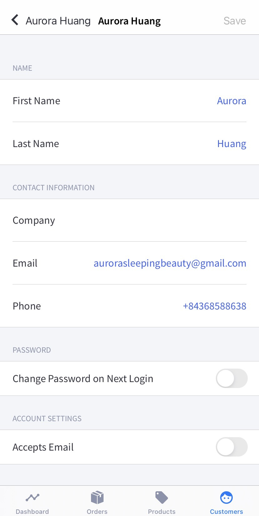An example of editing consumer information on Android