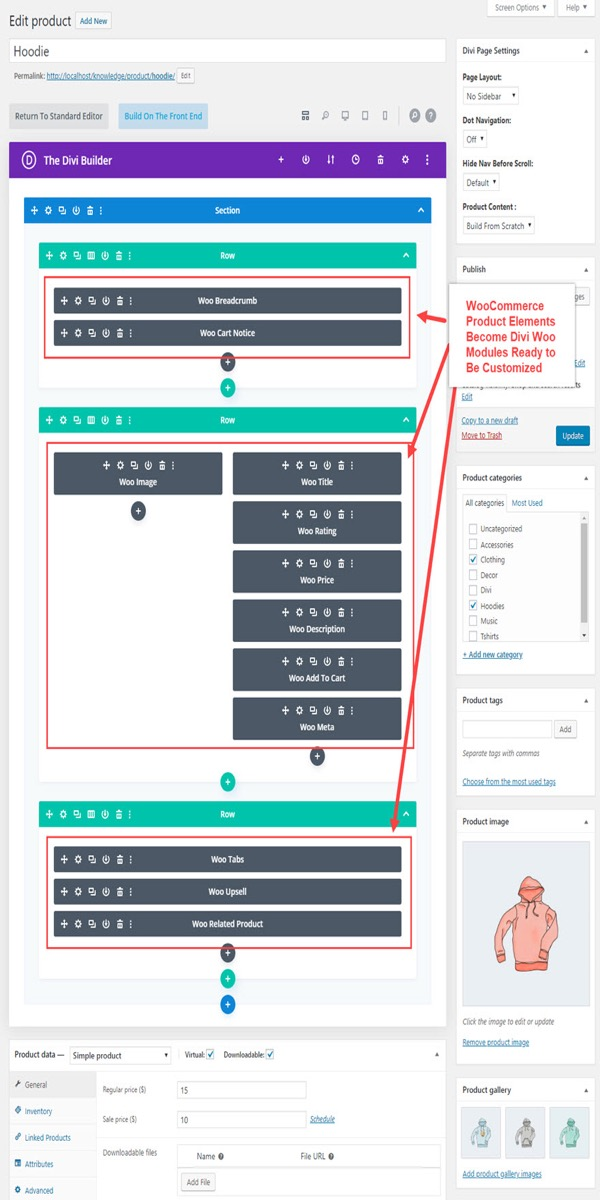 Enable the Divi Builder on a product page