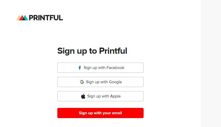 Register on Printful website