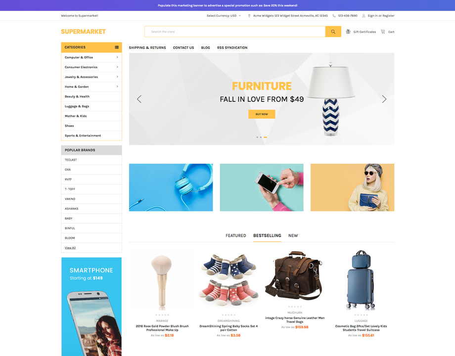 Supermarket Yellow BigCommerce Theme preview Source: QeRetail