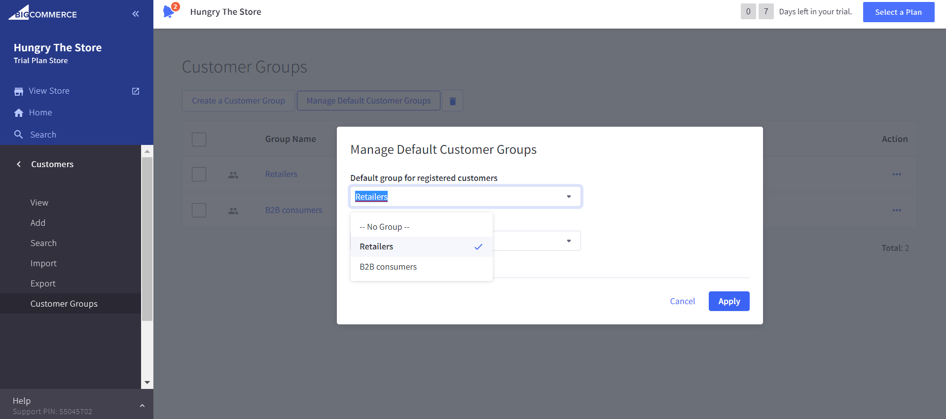 Default groups for registered customers or guests