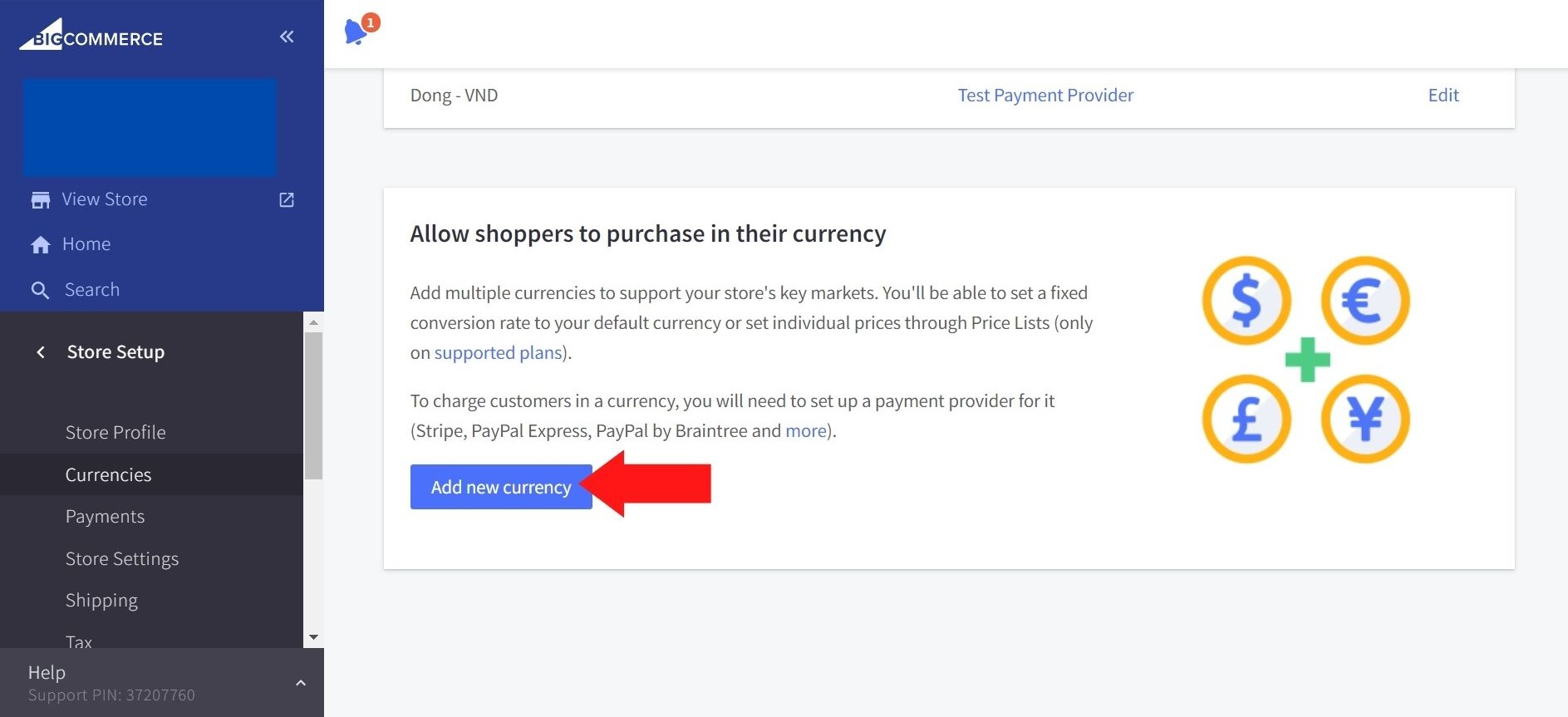 Adding currencies