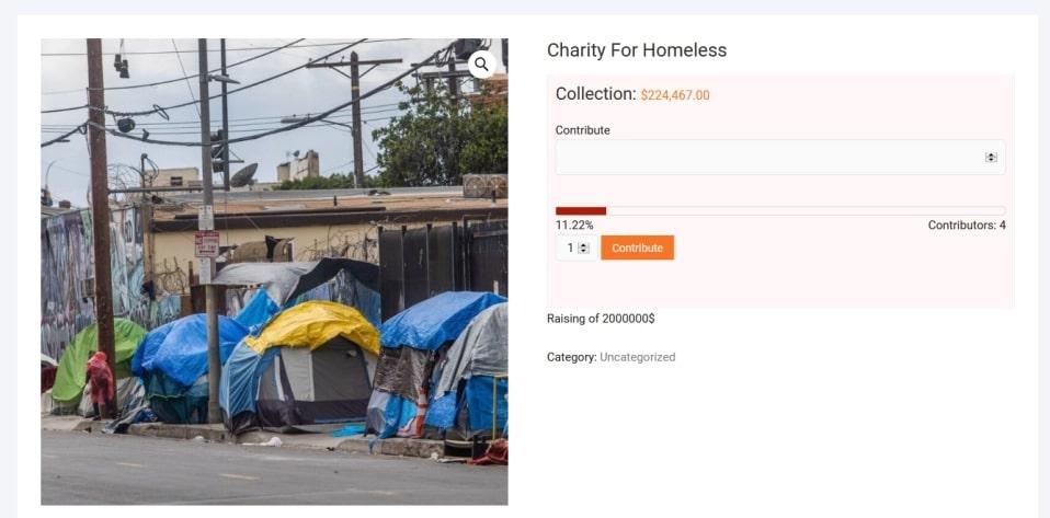 Crowdfunding donation plugin