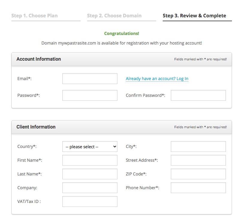 Sign up for hosting platform