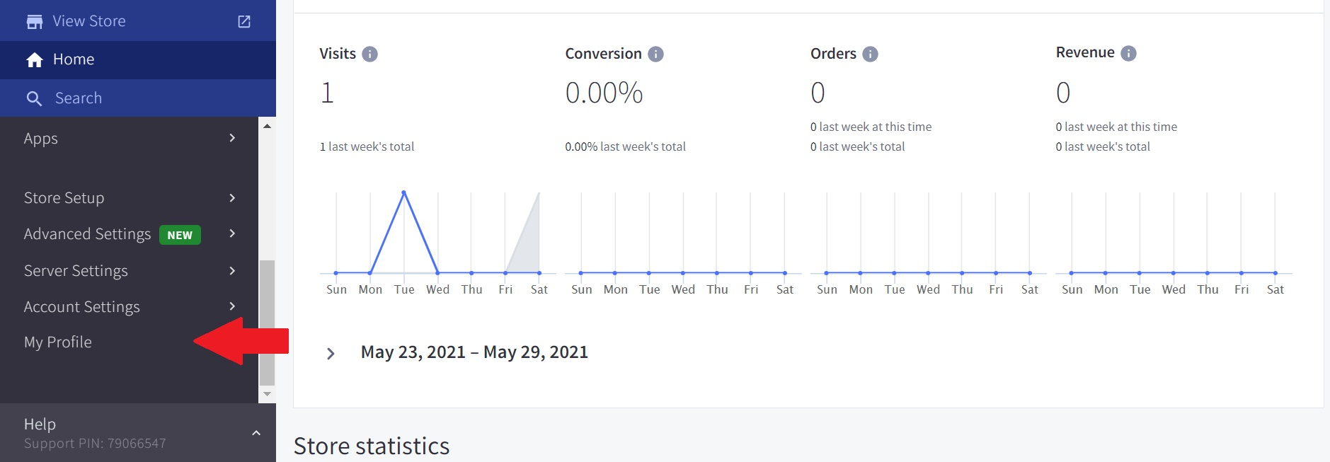 BigCommerce My Profile page
