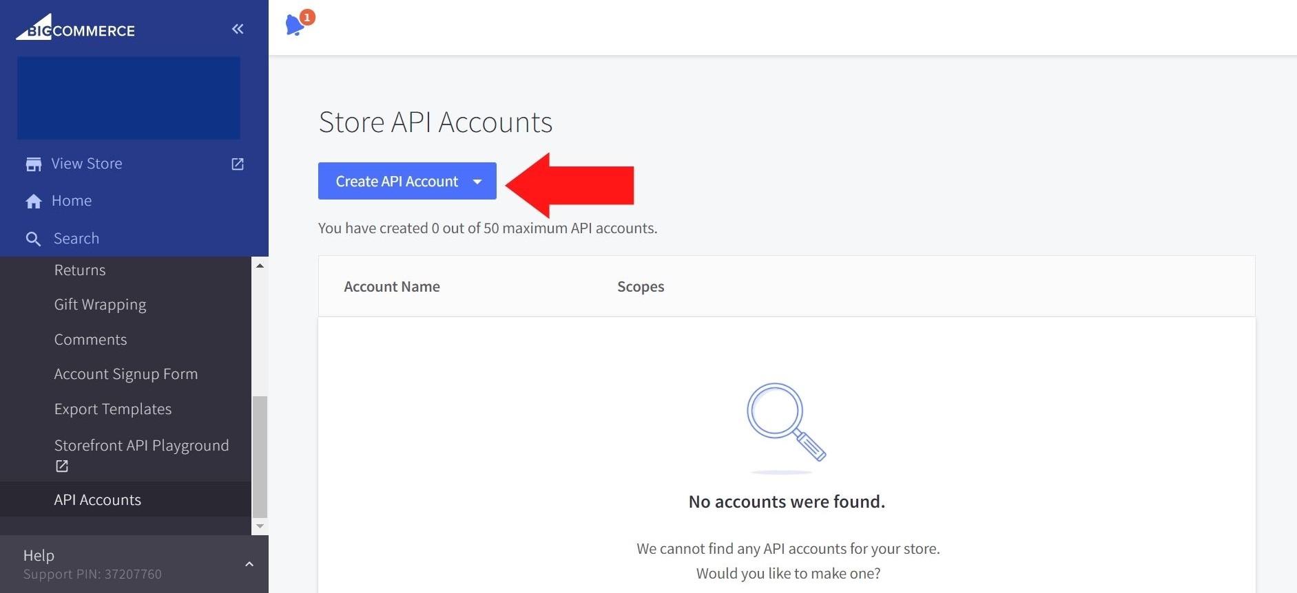 Creating API Account