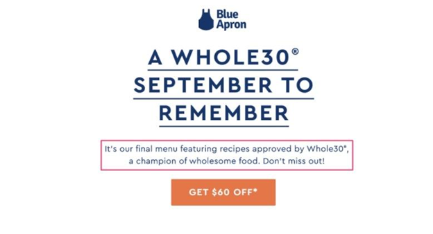 Blue Apron email example