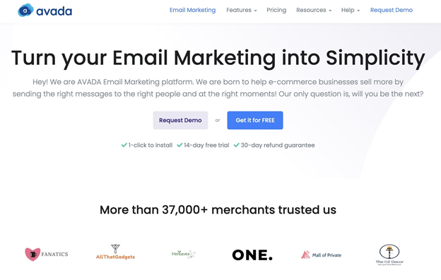 AVADA Email Marketing homepage preview