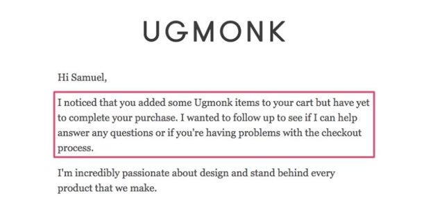 Ugmonk's cart recovery mail example