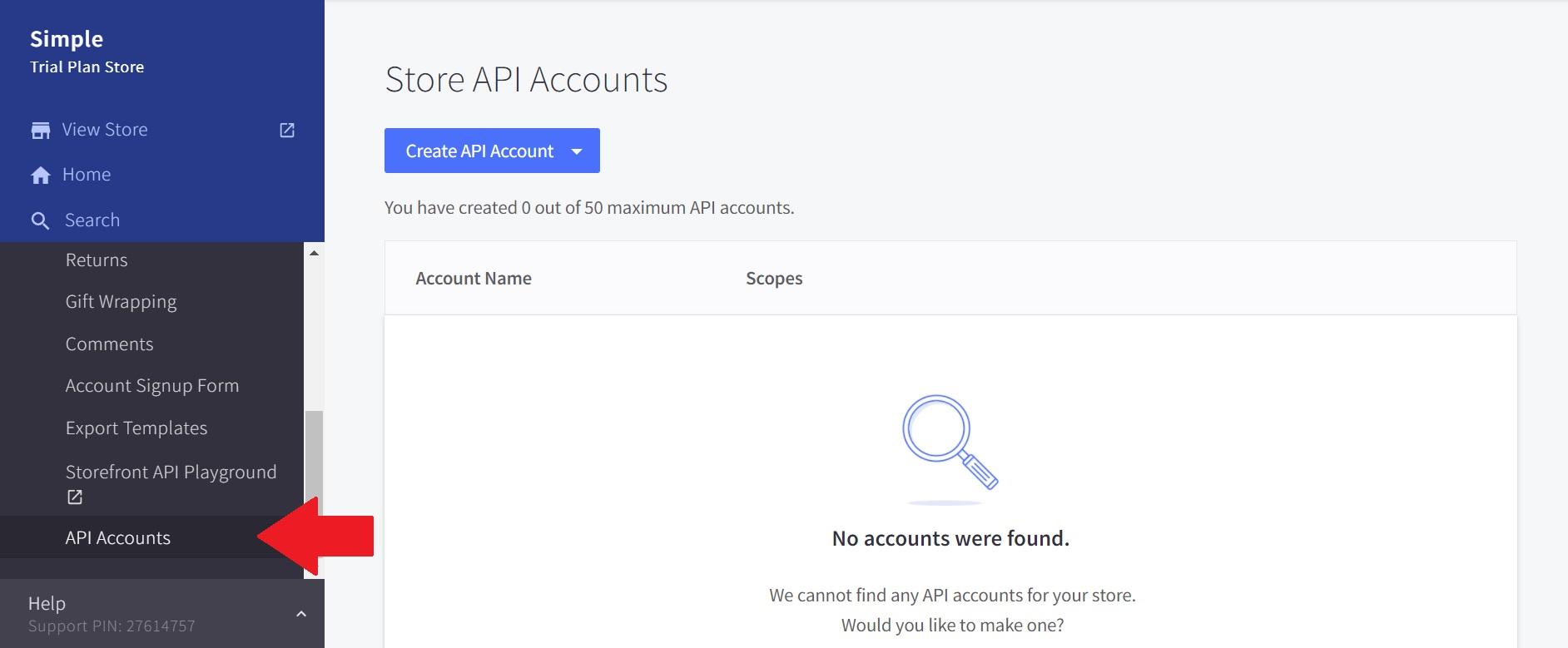 BigCommerce API Accounts page