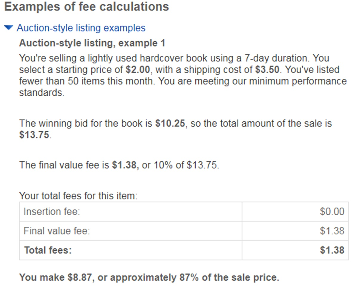 Example of fee calculations on eBay