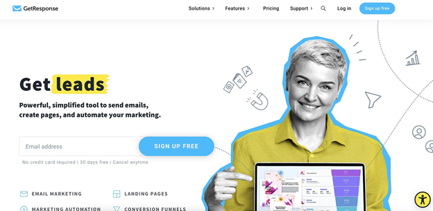 GetResponse homepage preview