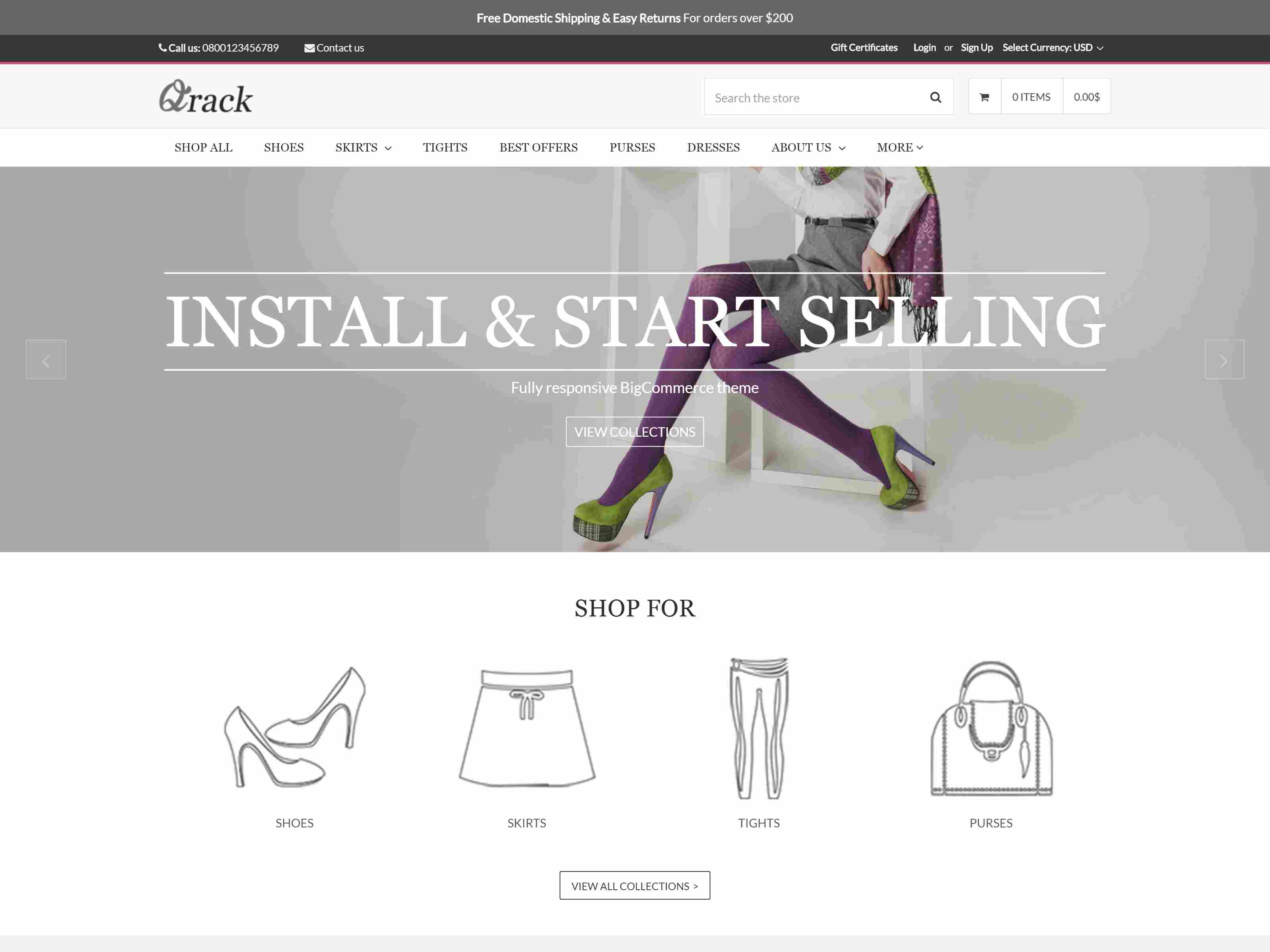 Qrack BigCommerce Theme preview Source: Theme Daddy