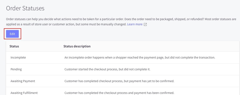 Customize the order status