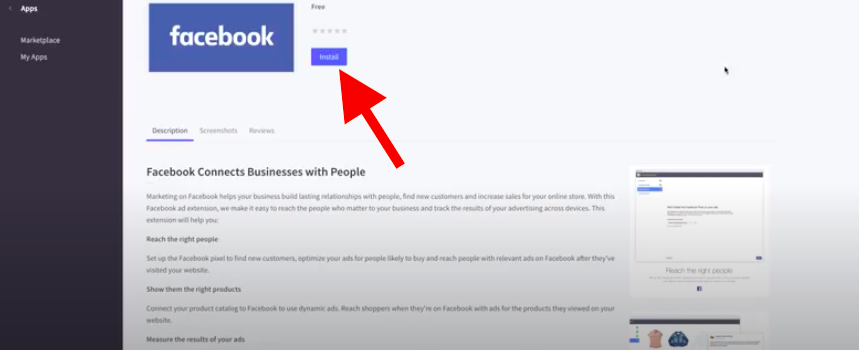 """Typing the keyword """"Facebook"""" on the searching bar then select """"Install"""""""