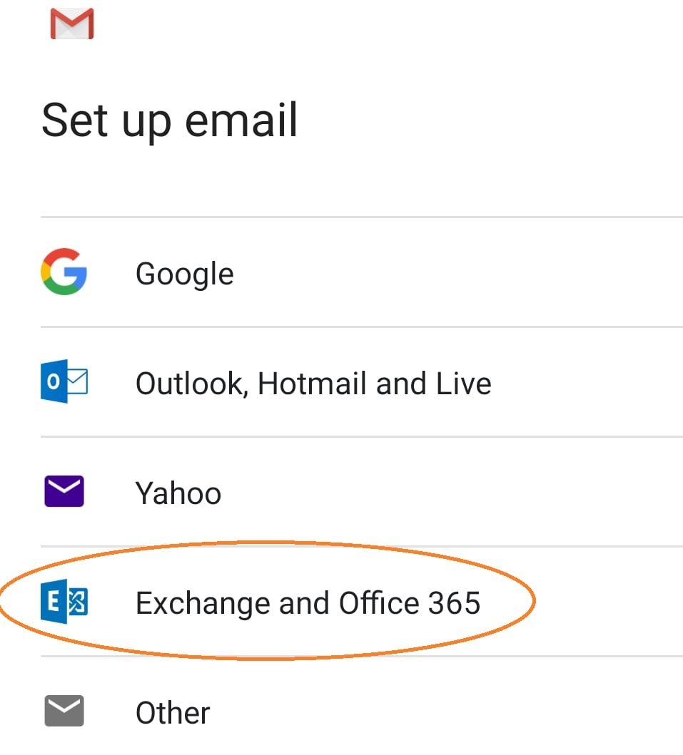 """Choose """"Exchange and Office 365"""""""
