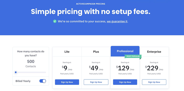 Active Campaign's pricing