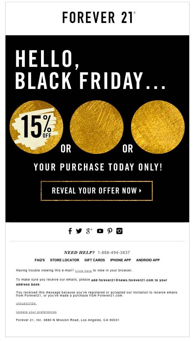 Forever 21's Anticipation Building Email Design