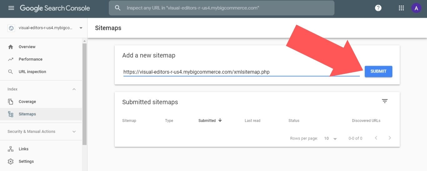 submit BigCommerce sitemap