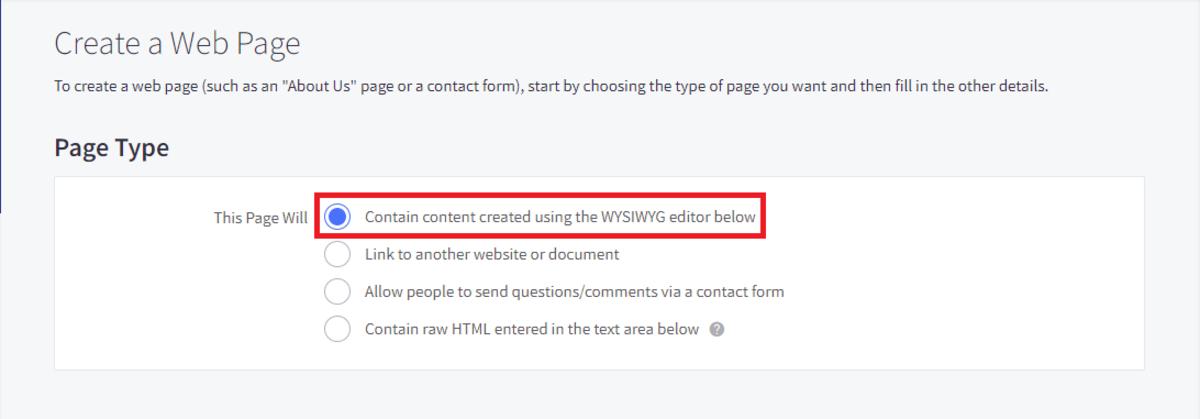 Choose using the WYSIWYG editor