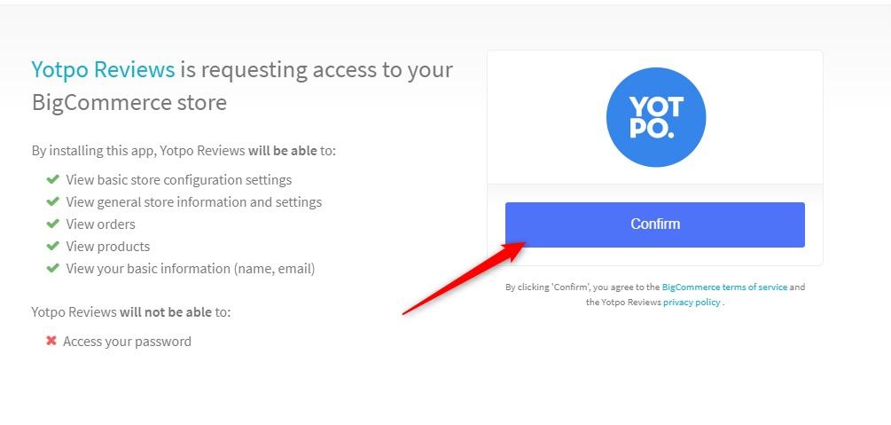 Start setting up Yotpo BigCommerce integration