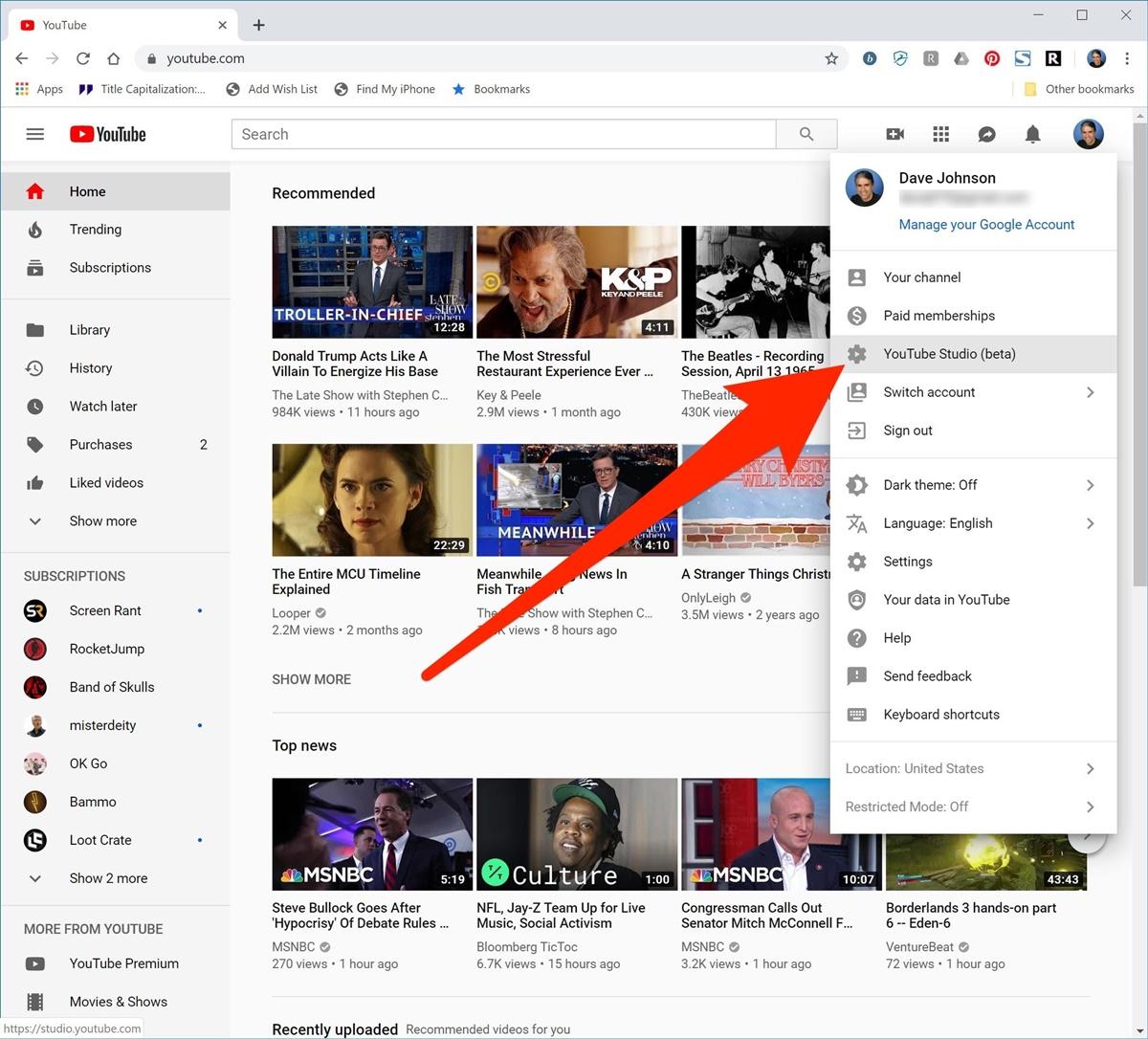 Access to Youtube Studio