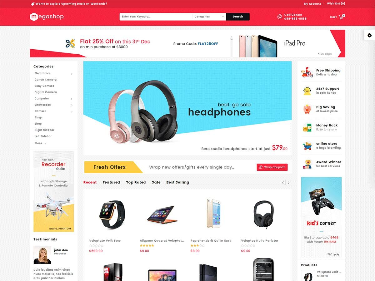 Mega Shop BigCommerce Theme preview Source: WordPress Theme Detector