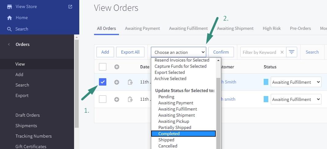 Choose an order status