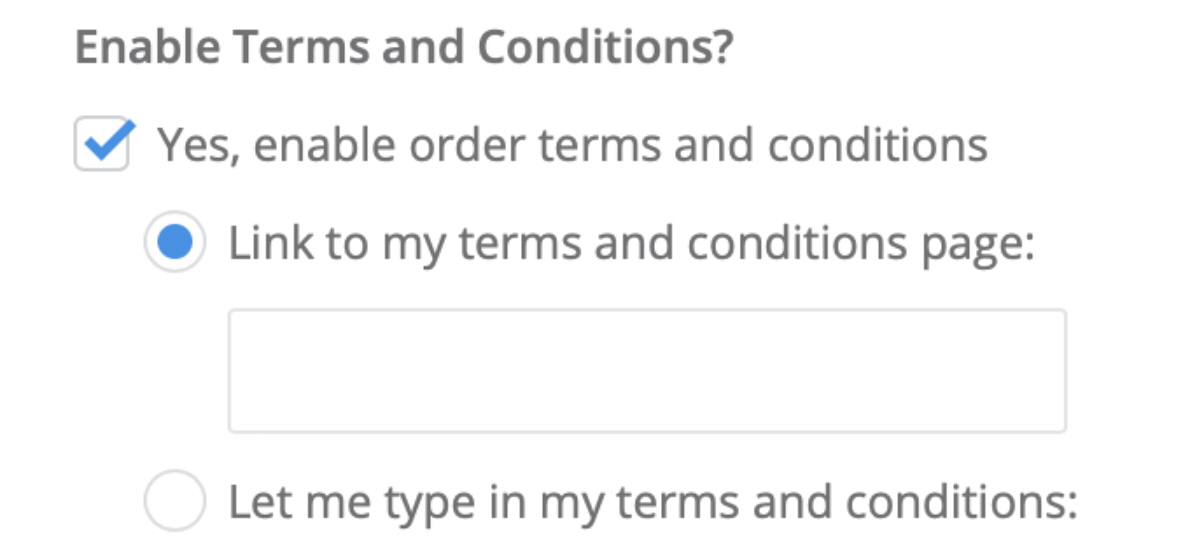Link to my terms and conditions page Checkbox Source: Jmango 360