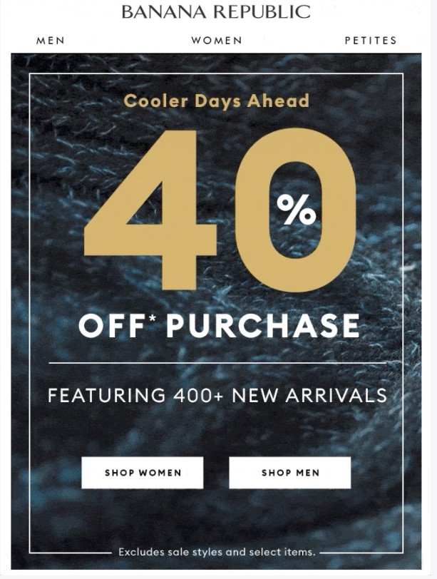 Banana Republic using the exact discount number in the subject line