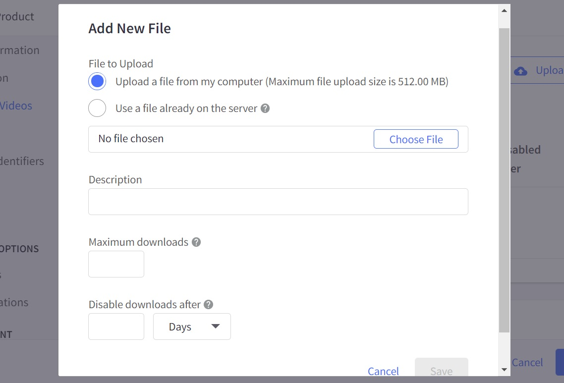 Drag your file and fill in further information