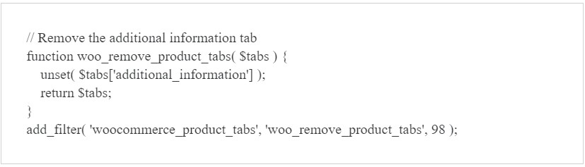 How to Remove Additional Information Tab in WooCommerce using PHP code