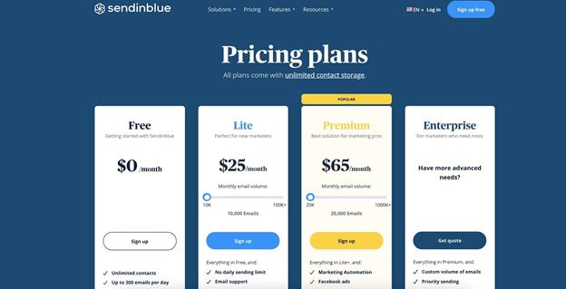 SendInBlue's price plans