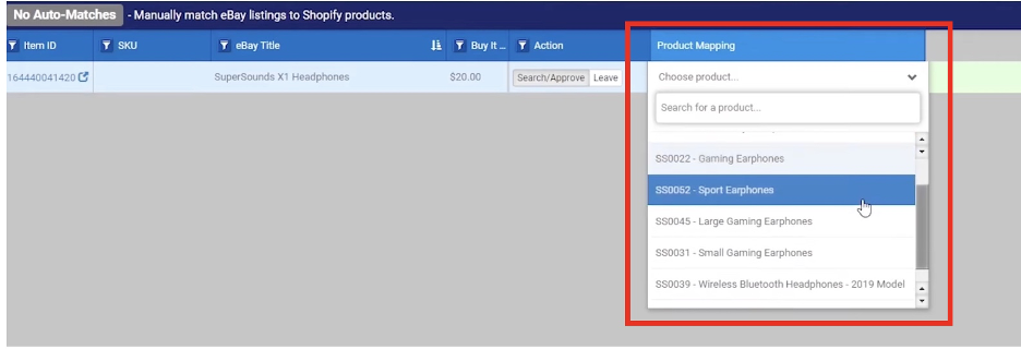 import products from BigCommerce store to eBay