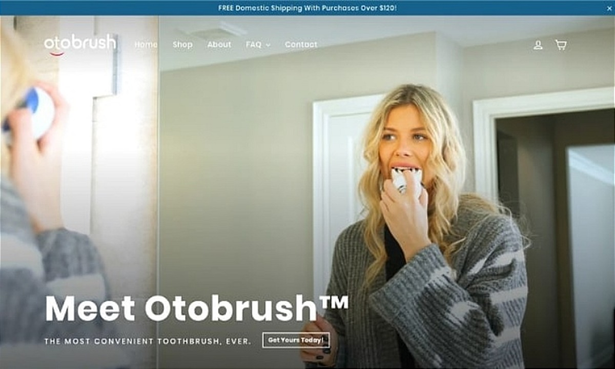 Otobrush's homepage is simple, bold, and shows exactly what they've got to sell