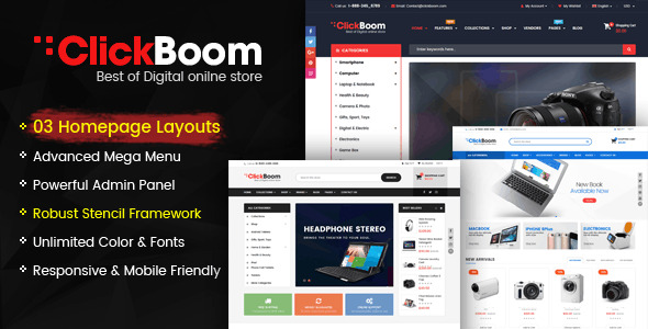 ClickBoom BigCommerce Theme preview Source: Evanto Nulled Script