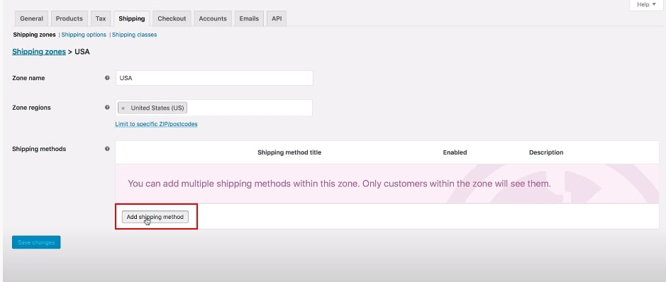 Step 3: Select shipping methods, then click Flat rate