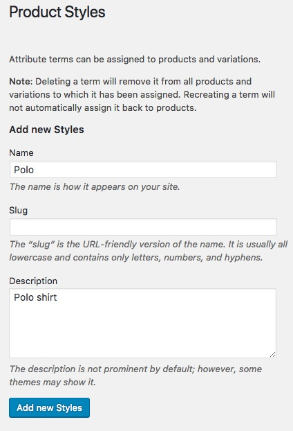 Step 3: Create product attributes